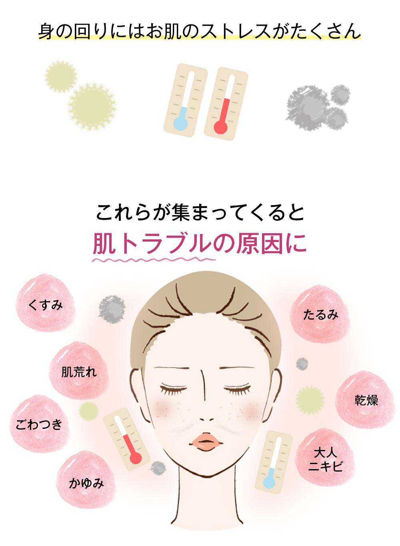 身の回りにはお肌のストレスがたくさん。これらが集まってくると肌トラブルの原因に。くすみ、たるみ、肌荒れ、ごわつき、かゆみ、乾燥、大人ニキビ
