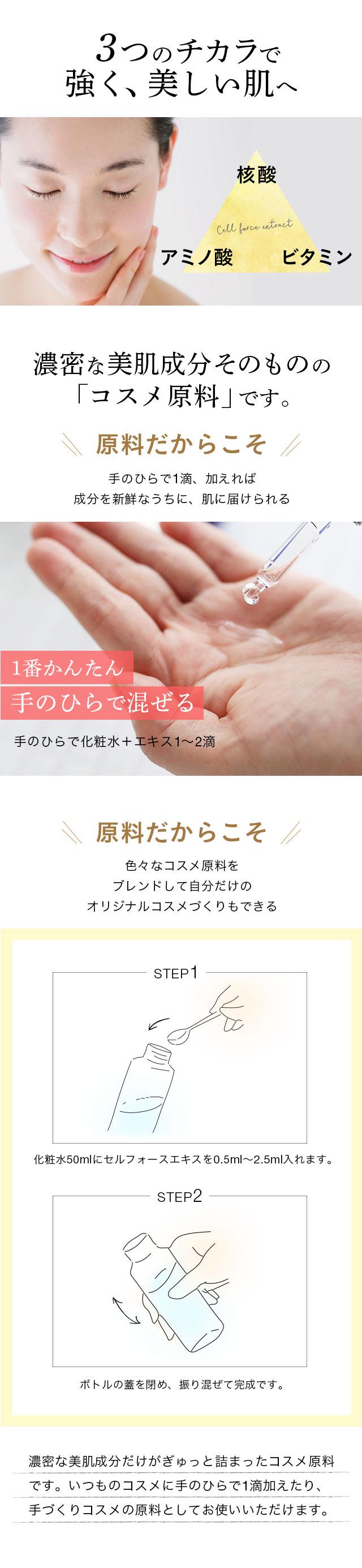 3つのチカラで強く、美しい肌へ。濃密な美肌成分そのものの「コスメ原料」です。
