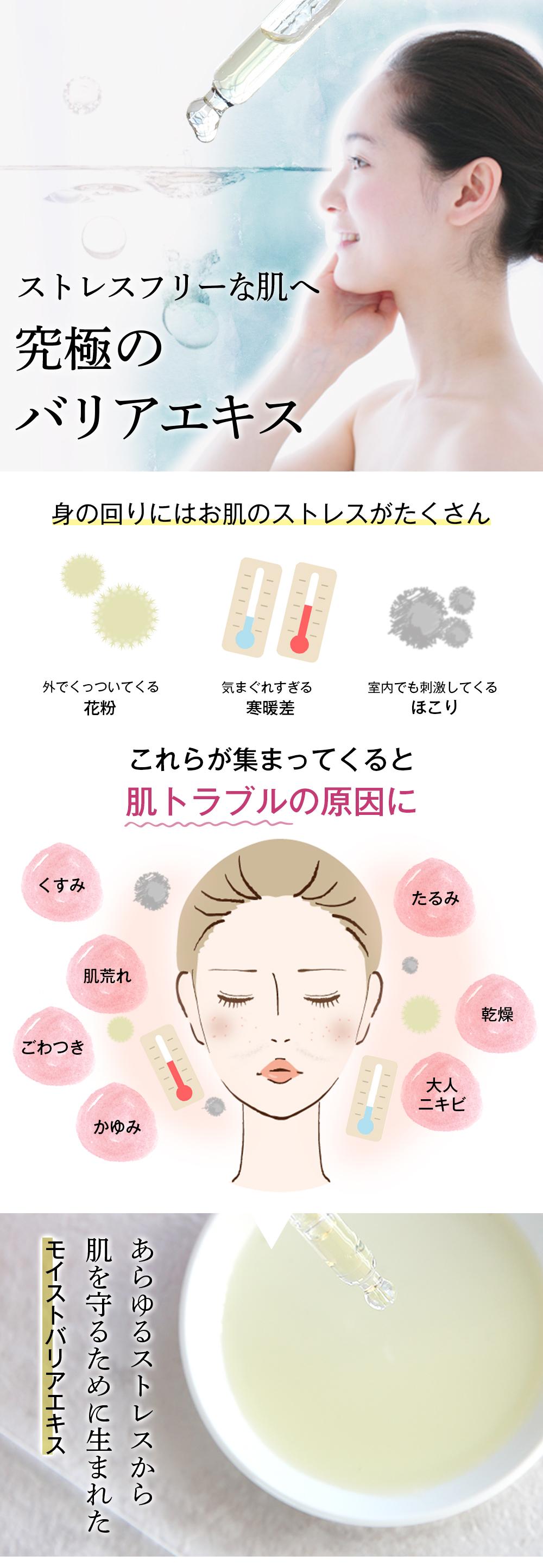 花粉、寒暖差、ほこりなどお肌のストレスから守るバリアエキス。でくすみ、肌荒れたるみ、毛穴、乾燥、しわをケア